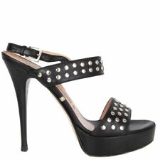 58983 authGIANMARCO LORENZI black leather STUDDED Platform Sandals Shoes 37.5
