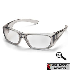 PYRAMEX EMERGE GRAY 1.5 CLEAR FULL READER LENS READING SAFETY GLASSES Z87+ 1 PR