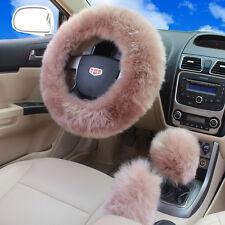 3Pcs Long Plush Fuzzy Steering Wheel Cover Pale Mauve Wool Handbrake Car Covers