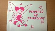 tinkerbell fairy powered by fairydust girls pink vinyl decal car sticker graphic
