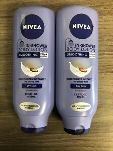 LOT OF 2!! NIVEA IN SHOWER SMOOTHING BODY LOTION SHEA BUTTER 13.5 OZ EACH
