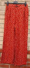 NEW LOOK FLARED FLARE CORAL TERRACOTTA DAISY FLORAL BAGGY TROUSERS PANTS 10 S