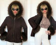 MARCO GIANOTTI GENUINE SHEARLING BROWN HOODED JACKET (FOX?) FUR TRIM 8 S