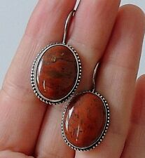 925 STERLING SILVER OVAL RED TURQUOISE DROP EARRINGS