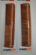 "2 Conair Man Hand Cut Wooden Pocket Comb 93137 Men's Hair Styling Grooming, 6.5"""