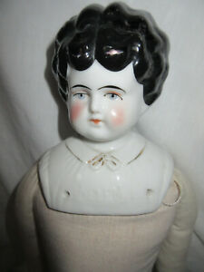 """18"""" Antique German China Head Helen Pet Name, Common Low Brow Turned Head"""