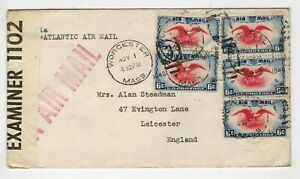 USA 1940 AIRMAIL COVER 30 CENT POSTAGE WWII EXAMINER LABEL POSTAL HISTORY