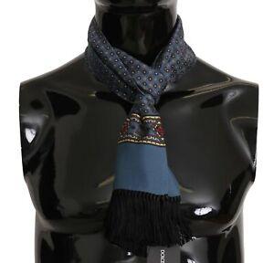 DOLCE & GABBANA Scarf Blue Patterned Tassel Silk Mens Shawl 16cm x140cm RRP $300