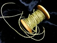 """VINTAGE Antique FRENCH 1900 Gold 3yds METALLIC SPUN TWISTED CORD 1/16"""""""
