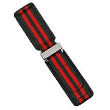 B & R Bands Black/Red Bond Nylon Hook N' Loop Watch Band Strap 22m 24mm