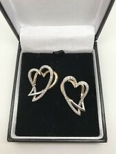 9ct Yellow Gold .35 Carat Diamond Heart Dropper Earrings Snap Closure