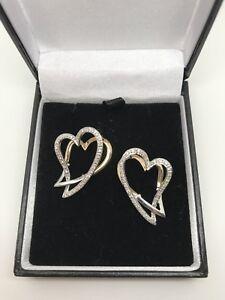 9ct Yellow Gold .35 Carat Diamond Heart Dropper Earrings Snap Closure
