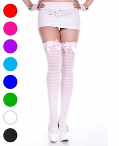 Opaque Striped Thigh High Stockings With Bow - Music Legs 4238