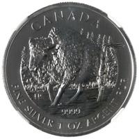 Canada $5 2013 Bison 1oz Bullion Silver.9999 31,1gr Canadian Wildlife Series BU