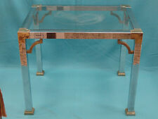 BEST 70's MASTERCRAFT KARL SPRINGER ERA CHROME STEEL AND BRASS COFFEE TABLE