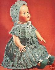 Vintage Crochet Baby Doll Dress Hat Shoes 22&16-inPttrn