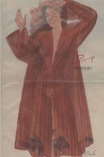 """""""PIN-UP en DESHABILLE""""Affiche originale entoilée CAROLS (BRENOT) 1950-51 34x51cm"""