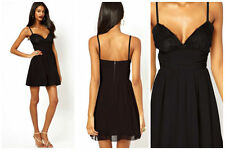 Elise Ryan Cami Dress with Scallop Lace Bust Black UK 12