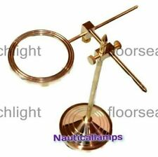 Brass Desktop Magnifying Glass Magnifier Adjustable Stand Vintage Golden Finish