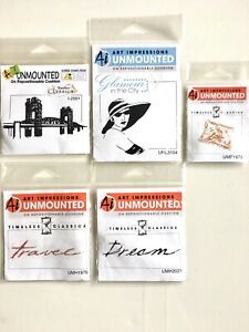 Lot Of 5 Ai Art Impressions Unmounted Original Rubber Stamps NOS