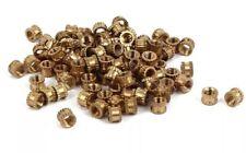 100x M3 x 3mm (4mm OD) Solid Brass Round Threaded Knurl Insert Embedded Nut Pack