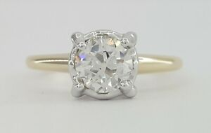 0.78 ct Antique Art Deco 14k Old European Solitaire Diamond Engagement Ring GIA