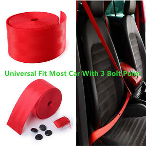 Red Racing Front 3 Point Safety Retractable Van Car Auto Seat Lap Belt Universal