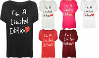 New Plus Size Womens Slogan Heart Print Ladies Short Sleeve T-Shirt Top 16 - 26