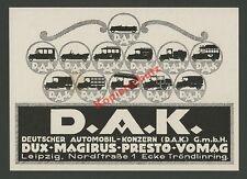 Reklame Deutscher Automobil-Konzern D.A.K. Dux Magirus Presto Vomag Leipzig 1920