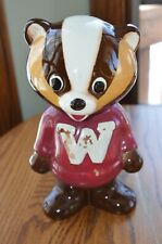 Vintage Wisconsin Badgers Bucky Badger Pottery Mascot Bank