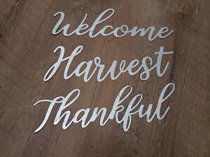 "Galvanized Metal Word Thankful, Harvest  Small 8.75"" x 2.75"""