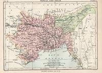 Antique Map Of Bengal & Assam India  1880