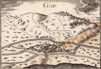 Gravure XVIIe Vue de Gap Hautes Alpes Christophe Tassin 1634