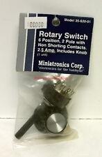 Miniatronics~#35-620-01~6 Position,2 Pole Rotary Switch w/Knob~2.5 Amp~