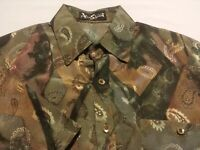 Alan Stuart Mens Small S/S Multicolor Paisley Pullover Banded Bottom Shirt