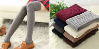 Women Winter Warm Cable Knitted Long Boot Socks Over Knee High Stockings