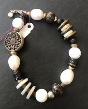Silpada Mother Of Pearl, Copper, Brass, Brown Lip Shell Stretch Bracelet #b1989