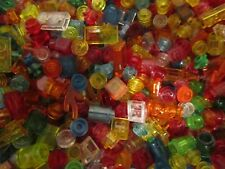 Lego over 100 Coloured Transparent / Clear 1 pin mini Bricks - Round / Shaped