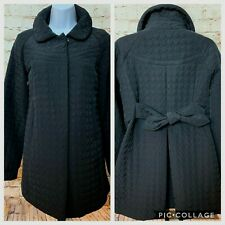 Betsey Johnson Black Quilted A-Line Coat M Back Bow Belt Snap Front