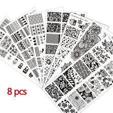 8pcs/set Born Pretty Heiß Nail Art Stamping Schablonen Kit Maniküre Werkzeug DIY