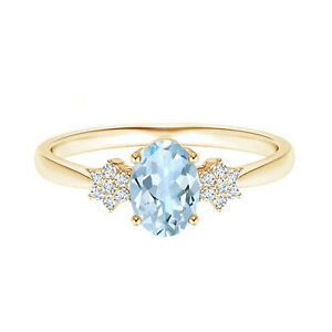 Cluster Ring!! Oval Blue Aquamarine Gemstone Solitaire Ring 9K Yellow Gold
