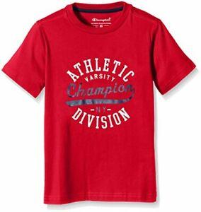 Champion Jungen Crewneck T-Shirt Kurzarmshirt Oberteil, Rot, M, 138-142 cm
