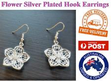 Silver Plated Flower Earring Earrings Hook Drop Dangle Costume Jewellery NEW