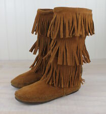 Minnetonka Moccasin # Layer Fringe Brown Boots 1632 Women's 7