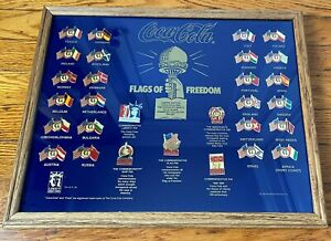 Complete 1985 Coca-Cola Flags of Freedom Framed Collectors Pin Set Tie Tack