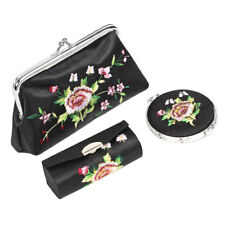 Floral Embroidered Wallet Handbag Mirror Lipstick Holder Case Black 3 in 1 Set