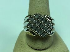 Mens 10k Solid Yellow Gold  Round Diamonds Cluster Wedding Ring Sz 12.5