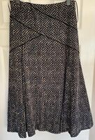 Pet Una Size 14  M&S  Velour Blue/Grey Maxi Long Flared lined Skirt Length 35ins