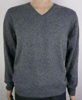 Men`s Pure Lambswool V-Neck Jumper Sizes Large Light Grey Sweater