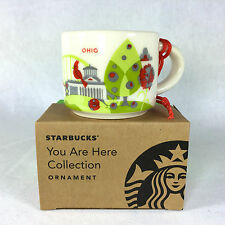 Starbucks Ohio You Are Here YAH Christmas ORNAMENT 2 oz Ceramic Mini Mug NEW
